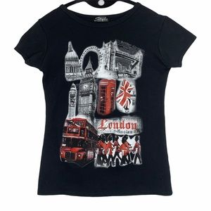 London city scape graphic tee with red glitter